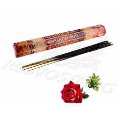 HEM Sandal-Rose (Сандал и Роза) аромапалочки 20 шт / 24 см шестигранник Индия