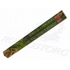 HEM Ginger Green Tea (Имбирь и Зеленый чай) аромапалочки 20 шт / 24 см коробка шестигранник Индия