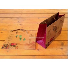 Пакет подарочный крафт Китайские пионы 20,5х15х8,5 см