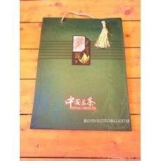 Пакет подарочный бумажный большой (темно-зеленый) 29х38х10 см