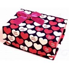 Коробка подарочная с крышкой на магните (синяя с белыми и розовыми сердечками) 10х8х4 см