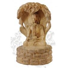 Будда под деревом Бодхи резная статуэтка 21 см, сандаловое дерево, ручная работа, Непал
