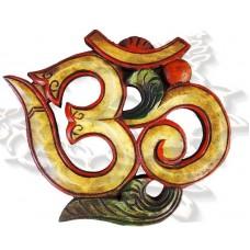 Сувенир символ ОМ резьба по дереву (в цвете) 25х18 см, ручная работа, Непал