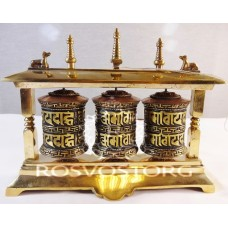 3 Молитвенных барабана в раме с мантрами Настольный вариант (латунь), Непал