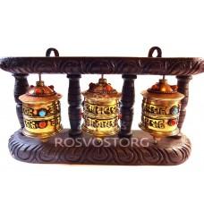 3 Молитвенных барабана латунь с инкрустацией в деревянной раме настенный вариант, Непал