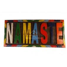 Сувенир Namaste Табличка (Добро пожаловать) резьба по дереву (в цвете), ручная работа, Непал