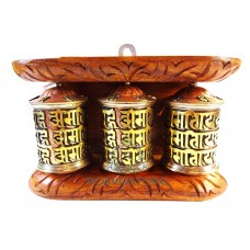 3 Молитвенных барабана с мантрами (латунь) в деревянной раме, Непал