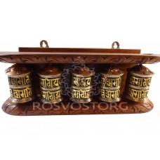 5 Молитвенных барабанов с мантрами (латунь) в деревянной раме, Непал
