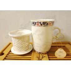 Кружка заварочная с колбой деколь Вензель сиренево-розовый (250мл) костяной фарфор, Chengyi Ceramic