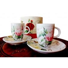 Набор 2 кофейные пары Английские розы (70мл) фарфор, в подарочной упаковке, Италия