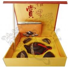 Набор для чайной церемонии 5 предметов (чайник, 4 пиалы) глина, в подарочной коробке, Китай