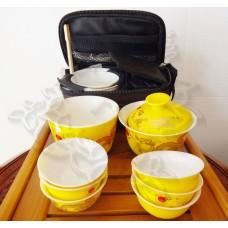 Набор чайный дорожный (гайвань, чахай и 6 пиал), фарфор в футляре, Китай