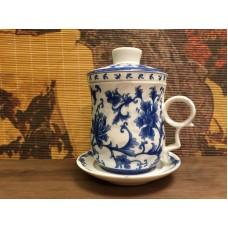 Кружка заварочная Синие Хризантемы с колбой (280мл)  костяной фарфор, Китай