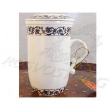 Кружка заварочная с колбой деколь Вензель сиренево-золотой (250мл) костяной фарфор, Chengyi Ceramic