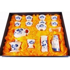 Набор для чайной церемонии на 8 человек Лотос (сине-белый фарфор), Китай