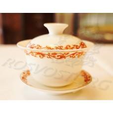Гайвань чайная, деколь красный вензель (100мл) фарфор, Китай