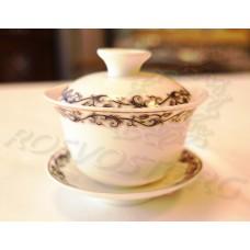 Гайвань чайная деколь синий вензель (100мл), костяной фарфор