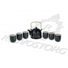 Набор для чайной церемонии Иероглифы (6 перс, 7 предм.) черный, Китай