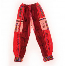 Мужские Шаровары Красные #2 (розовый карман) с Символами
