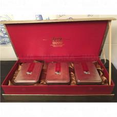 Подарочная коробка 3 металлические чайные банки Пенал Золотой, Китай