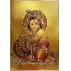 Картина Панно Бог Кришна под золото Формат А4 30х21 см, Индия