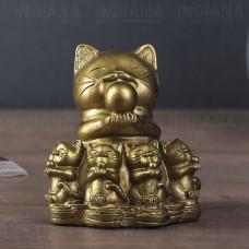 Статуэтка Кошка Манеки Неко с котятами 7 см Статуэтка полистоун, Китай