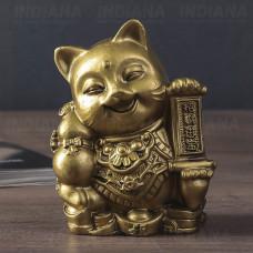 Статуэтка Кошка Манеки Неко с мешком денег 10х6х7 см (полистоун), Китай