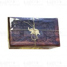 Подарочный Чай Масала 50 г в деревянной резной шкатулке 1 Слон