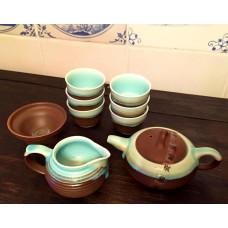 Набор для Чайной Церемонии 9 предметов ☯ Морская Пена ☯ Чайник, 6 пиал, сито, чахай керамика