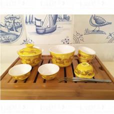 Дорожный Набор для Чайной Церемонии (гайвань, чахай, 6 пиал, щипцы) фарфор в футляре, Китай