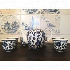 Чайный сервиз на 6 персон ☯ Гжель ☯ 7 предметов чайник и 6 пиал