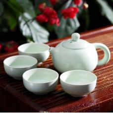 Набор для Чайной Церемонии ☯ Обитель Белых облаков ☯ Чайник и 4 пиалы керамика