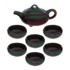 Купить Набор для Чайной Церемонии ☯ Голубая метель ☯ Чайник и 6 пиал керамика
