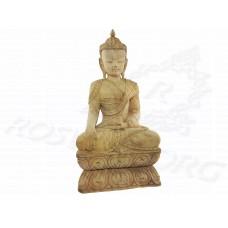 Купить Статуэтка Будды ❤ Будда на Лотосе ❤ Резная Статуэтка Сандаловое Дерево 30-32 см
