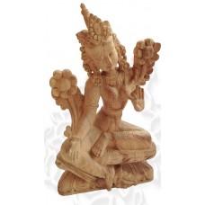 Зеленая Тара резная статуэтка 25 см, сандаловое дерево, ручная работа, Непал