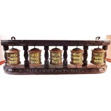 5 Молитвенных барабанов медь / латунь в деревянной раме настенный вариант, Непал