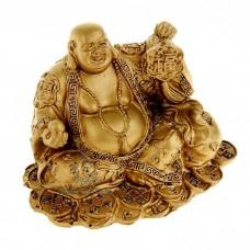 Статуэтка Хотей с Медальоном и Жемчужиной под бронзу (полистоун), Китай