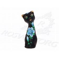 Статуэтка Кошка Роспись Цветами 11см, керамика, Россия