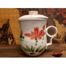 Кружка заварочная Цветок во льду с фарфоровой колбой (280мл), костяной фарфор Chengyi Ceramic, Китай