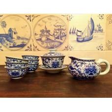 Набор для чайной церемонии Сад Пионов (голубой фарфор)