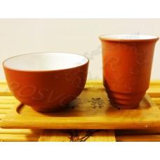 Китайская Чайная пара Две пиалы глина/глазурь 35 мл