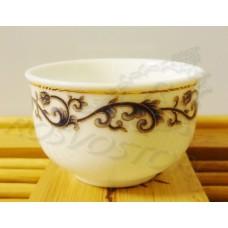 Пиала белая синий/золотой вензель (деколь) (30мл) фарфор